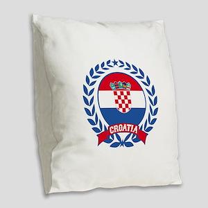 Croatia Wreath Burlap Throw Pillow