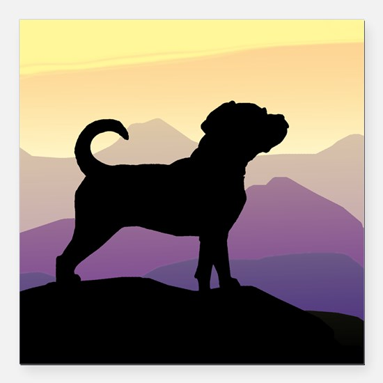 "Puggle Purple Mountains Square Car Magnet 3"" x 3"""