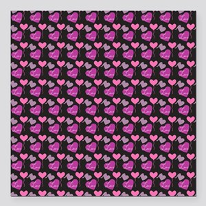 """Heart of Hearts Love Pat Square Car Magnet 3"""" x 3"""""""