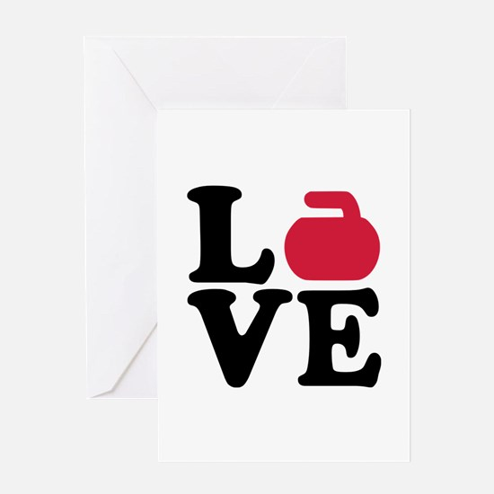 Curling love stone Greeting Card