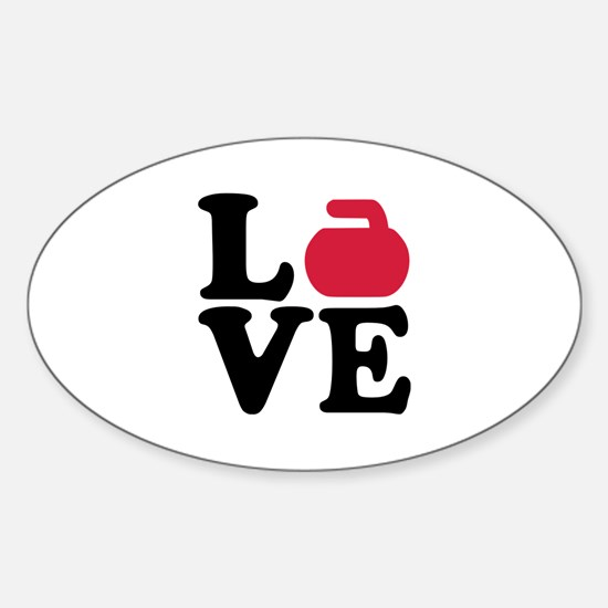 Curling love stone Sticker (Oval)