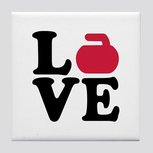 Curling love stone Tile Coaster