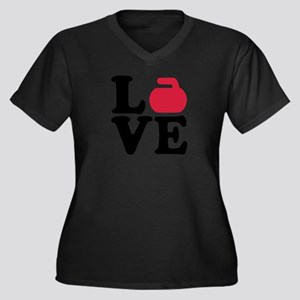 Curling love Women's Plus Size V-Neck Dark T-Shirt