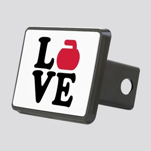 Curling love stone Rectangular Hitch Cover