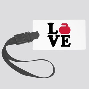 Curling love stone Large Luggage Tag