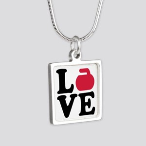 Curling love stone Silver Square Necklace