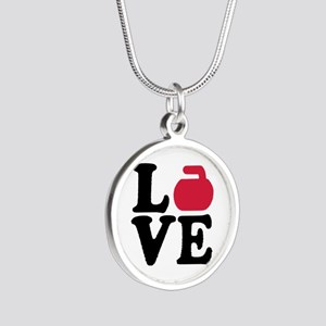 Curling love stone Silver Round Necklace