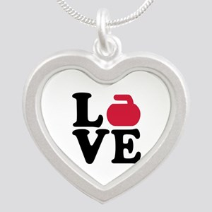 Curling love stone Silver Heart Necklace