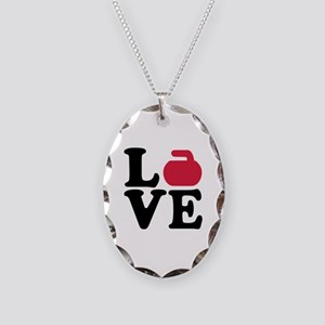 Curling love stone Necklace Oval Charm