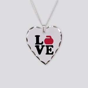 Curling love stone Necklace Heart Charm