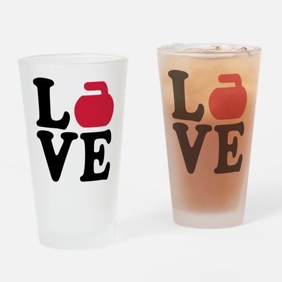 Curling love stone Drinking Glass