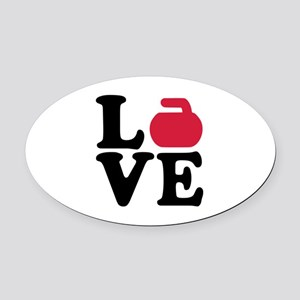 Curling love stone Oval Car Magnet