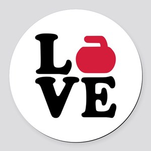 Curling love stone Round Car Magnet