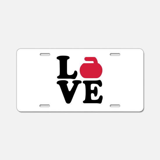 Curling love stone Aluminum License Plate