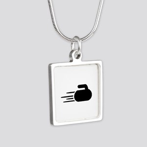 Curling stone Silver Square Necklace