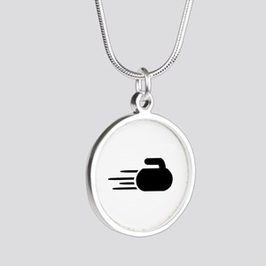 Curling stone Silver Round Necklace