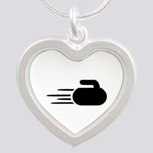 Curling stone Silver Heart Necklace