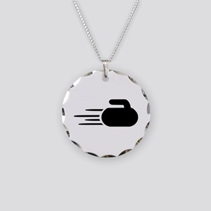 Curling stone Necklace Circle Charm