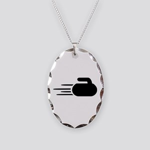 Curling stone Necklace Oval Charm