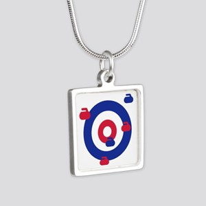 Curling field target Silver Square Necklace