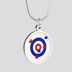 Curling field target Silver Round Necklace