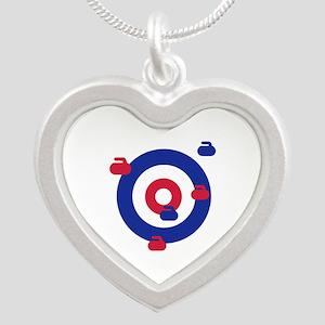 Curling field target Silver Heart Necklace