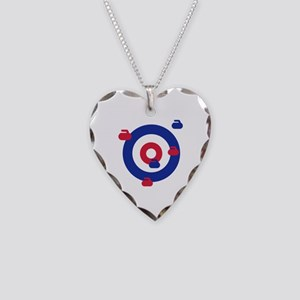 Curling field target Necklace Heart Charm