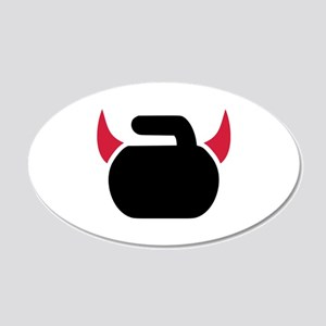Curling devil 20x12 Oval Wall Decal
