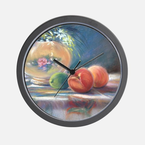 Peaches and flowers pastel Wall Clock