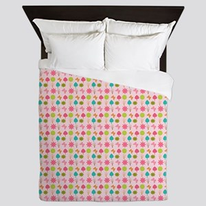 Colorful Girly Nature Pattern Queen Duvet