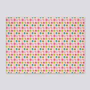Colorful Girly Nature Pattern 5'x7'Area Rug