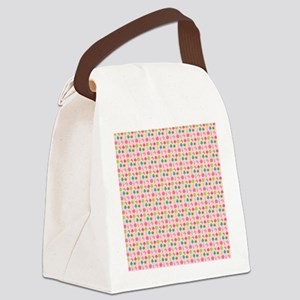 Colorful Girly Nature Pattern Canvas Lunch Bag