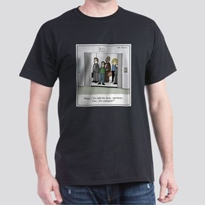 Contagious on Elevator Cartoon Dark T-Shirt