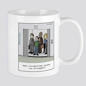 Contagious on Elevator Cartoon 11 oz Ceramic Mug