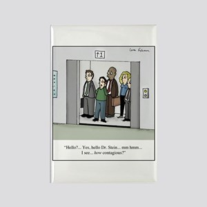 Contagious on Elevator Cartoon Rectangle Magnet