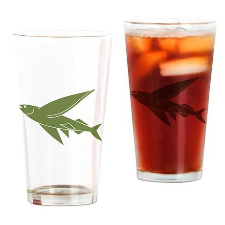 Green Flying Fish Drinking Glass