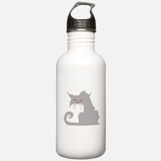 Angry Grey Cat Water Bottle