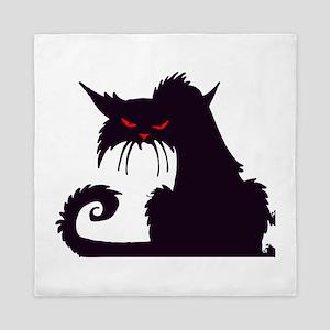 Angry Black Cat Queen Duvet