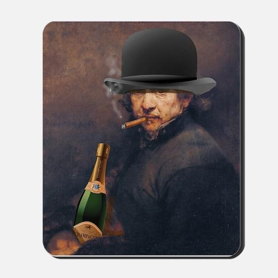 Self-Portrait Of Rembrandt Smoking Cigar Mousepad