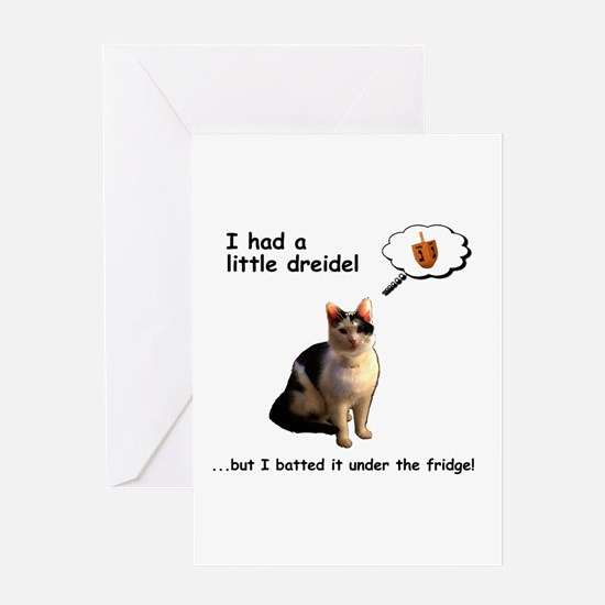 Hanukkah Dreidel Cat Greeting Cards