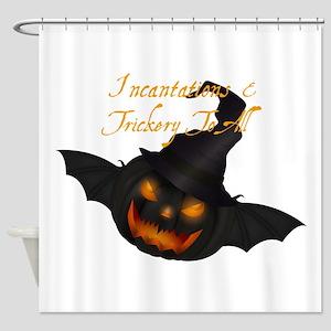 Halloween Pumpkin Witch Shower Curtain