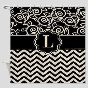 Black Tan Chevron Scroll Monogram Shower Curtain