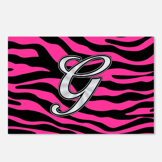 HOT PINK ZEBRA SILVER G Postcards (Package of 8)