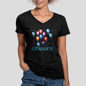 Graduation Balloons Women's V-Neck Dark T-Shirt
