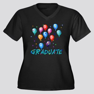 Graduation Balloons Women's Plus Size V-Neck Dark