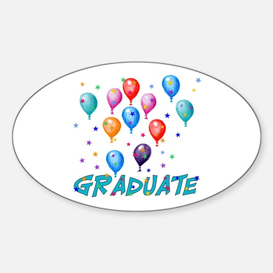 Graduation Balloons Oval Decal