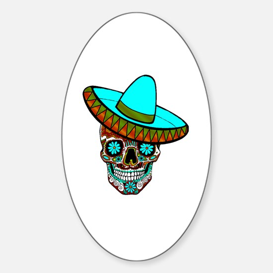 Cute Mexican sugar skulls Sticker (Oval)