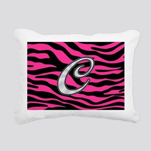 HOT PINK ZEBRA SILVER C Rectangular Canvas Pillow