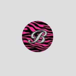 HOT PINK ZEBRA SILVER B Mini Button