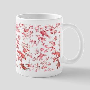 RedBirdsOnWhiteLinen Small Mug